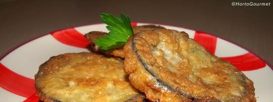 Rodajas de berenjena rellenas de jamón cocido y queso