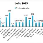 Pizarra de precios por tipos de hortalizas de Almería julio 15