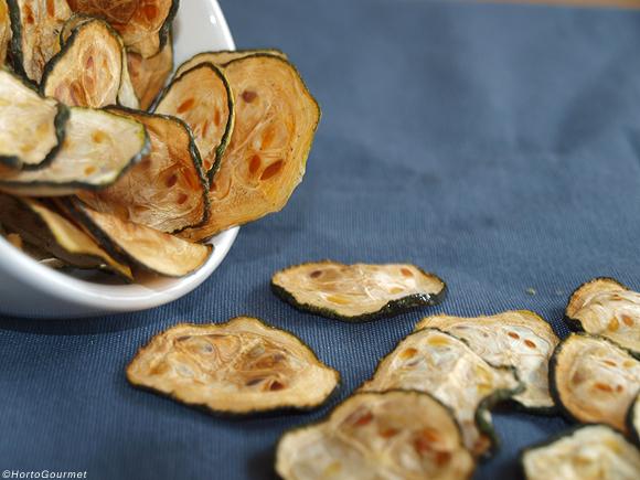 Chips de calabacín en horno