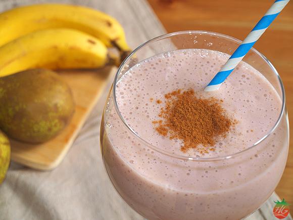 Receta Batido de plátano con pera y frambuesa
