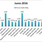 Pizarra de precios de hortalizas junio 16