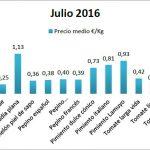 Pizarra de precios de hortalizas julio 16