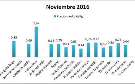 Precios en origen de hortalizas noviembre 16