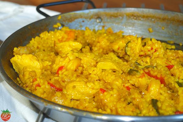 Receta Arroz con verduras, pollo y gambas