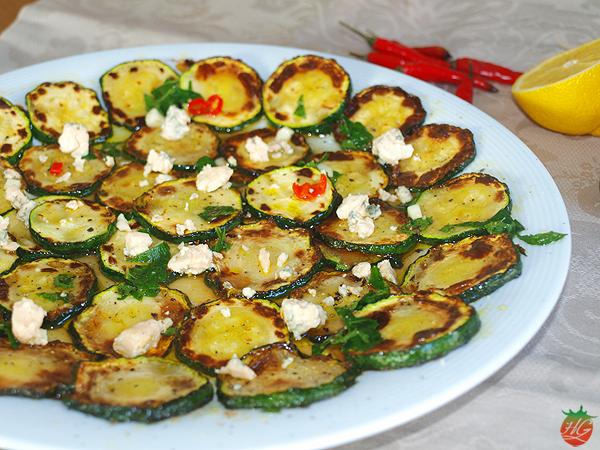 Receta Calabacín a la plancha con queso azul HortoGourmet