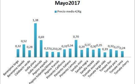 Precios en origen hortalizas en mayo