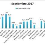 Pizarra de precios de hortalizas septiembre y octubre 17