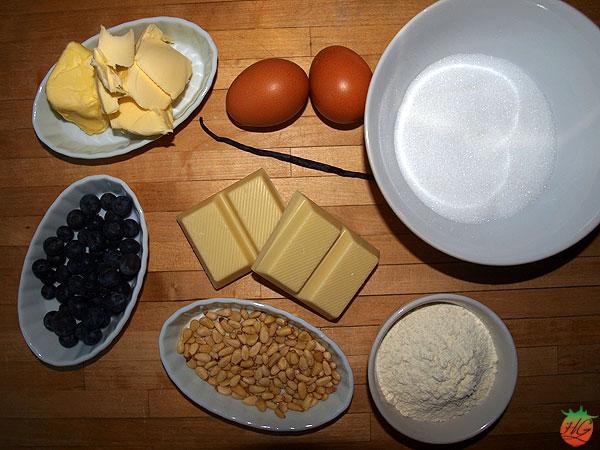 Ingredientes Blondie de piñones y arándanos