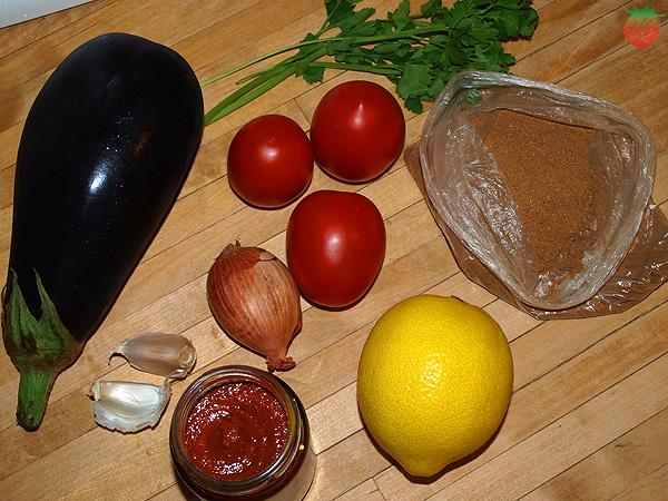 Ingredientes Zaalouk o aperitivo de berenjena