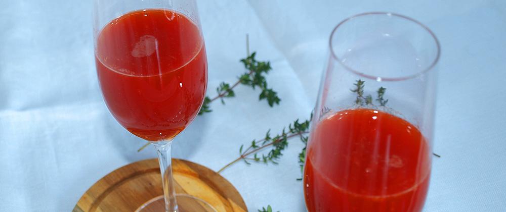 Bellini de naranja sanguina y pimiento