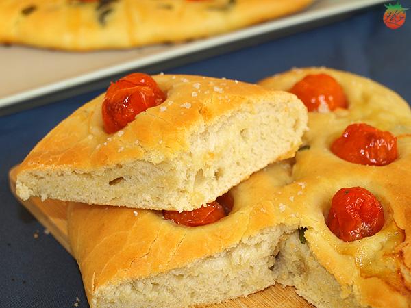 Focaccia de tomate y albahaca HortoGourmet