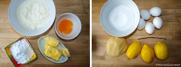 Ingredientes Tarta de limón y vainilla
