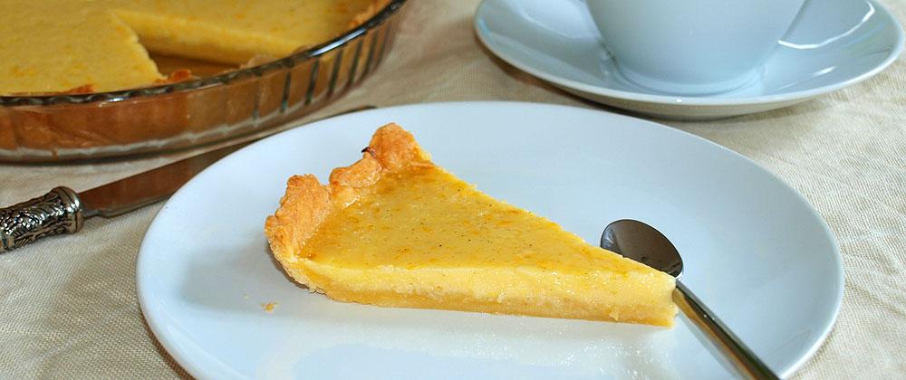 Tarta de limón y vainilla