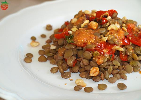 Ensalada de lentejas y tomate pera baby confitado