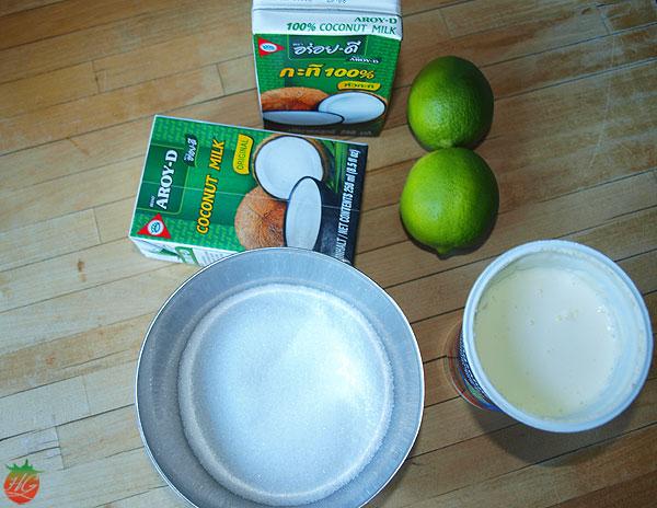 Ingredientes de helado de coco y lima