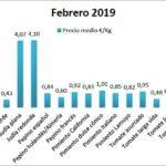Pizarra de precios de hortalizas febrero 19