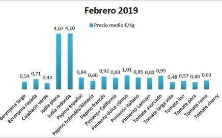 Precios en origen de hortalizas febrero 19