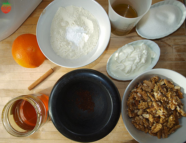 Ingredientes pastel griego de nueces